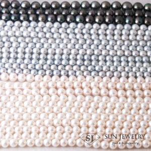 真珠ネックレス パール グレーパール